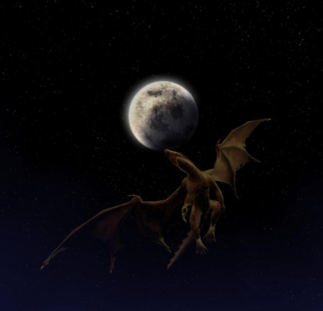 A ghost flies to the moon